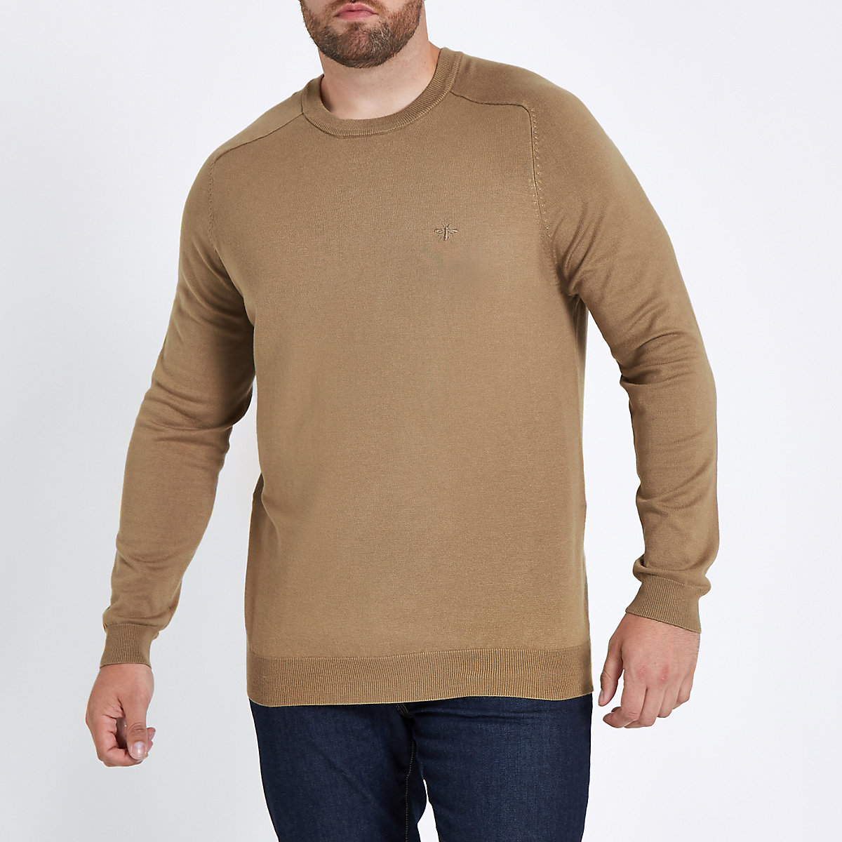 Big and Tall camel crew neck jumper