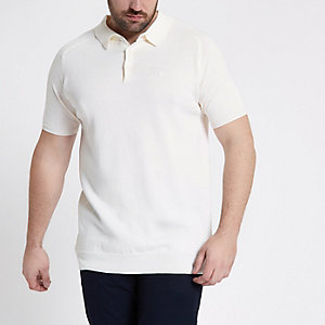Big and Tall - Ecru poloshirt met korte mouwen