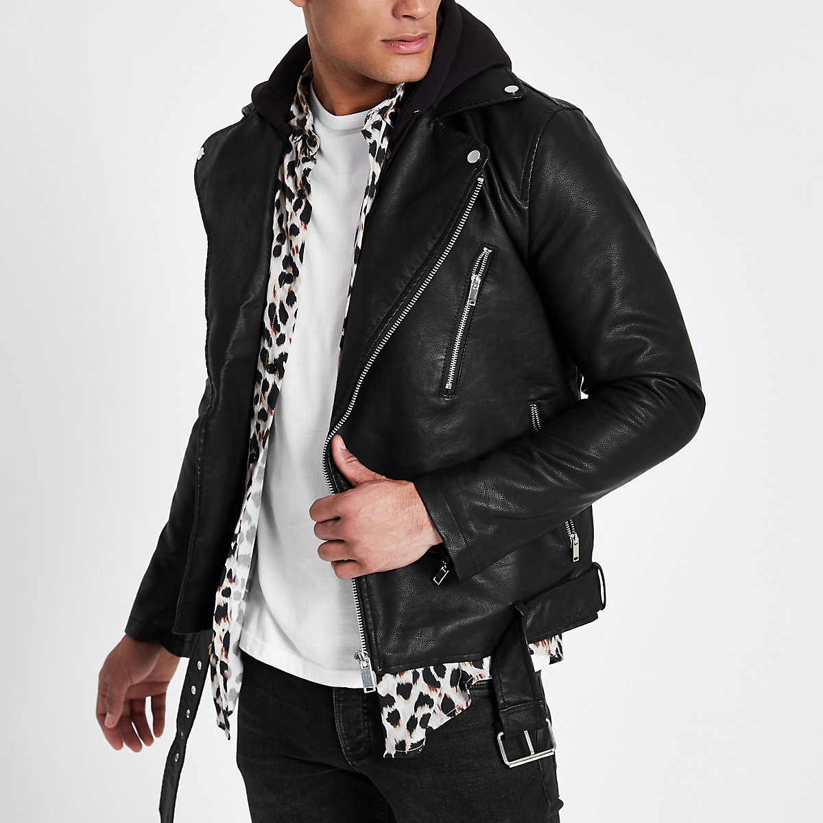 Black hooded faux leather biker jacket