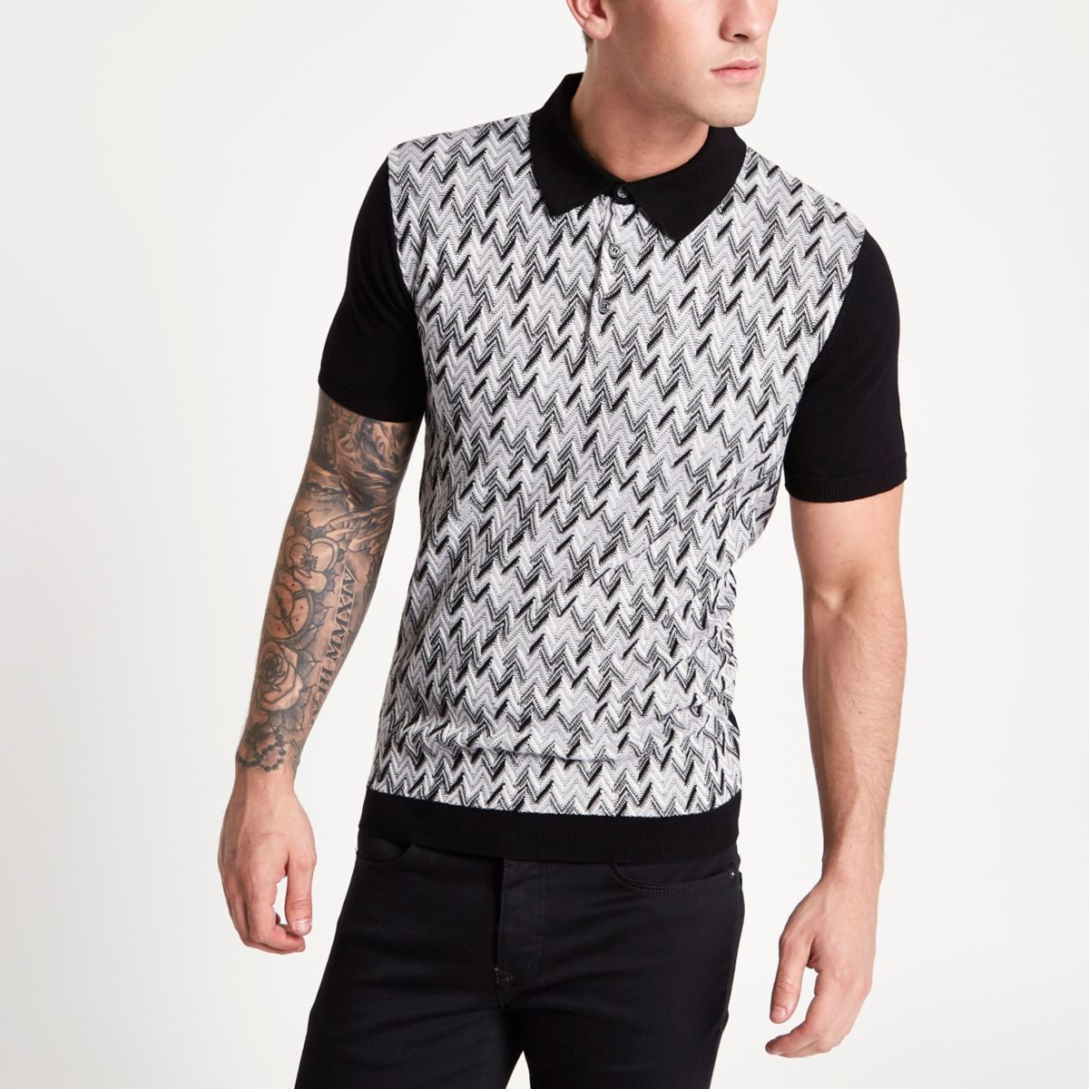 Black jacquard knit slim fit polo shirt