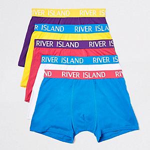 Multipack felblauwe strakke boxers met RI-logo