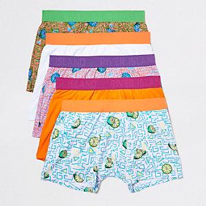 Multipack oranje strakke boxers met fruitprint