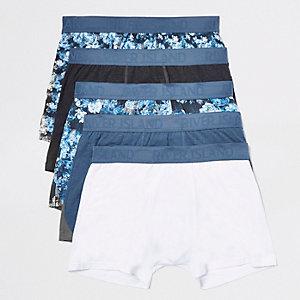 Lot de boxers longs à fleurs bleus