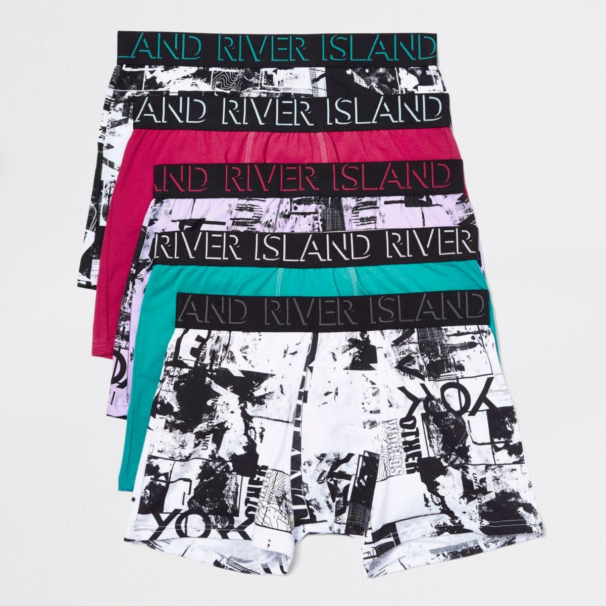 Pink RI print trunks multipack