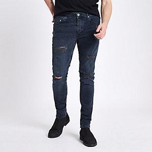 Sid - Donkerblauwe ripped skinny jeans