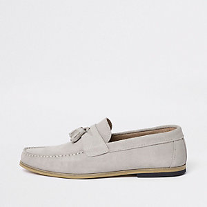 Ice grey suede woven tassel loafers