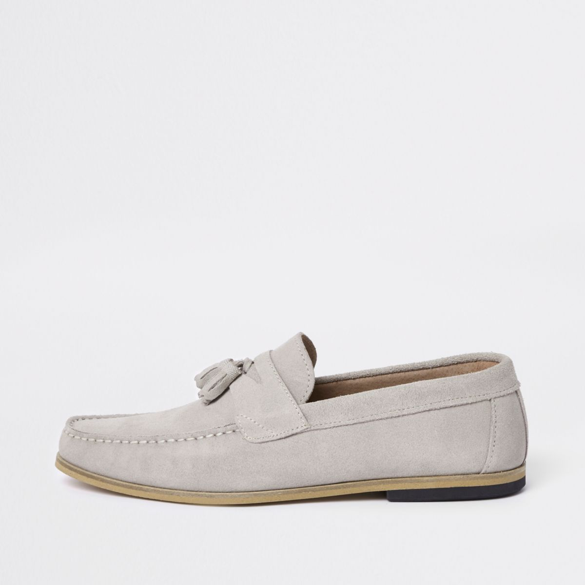 River Island Suede Loafer With Tassels In Ice Grey free shipping best store to get rMv9shynF