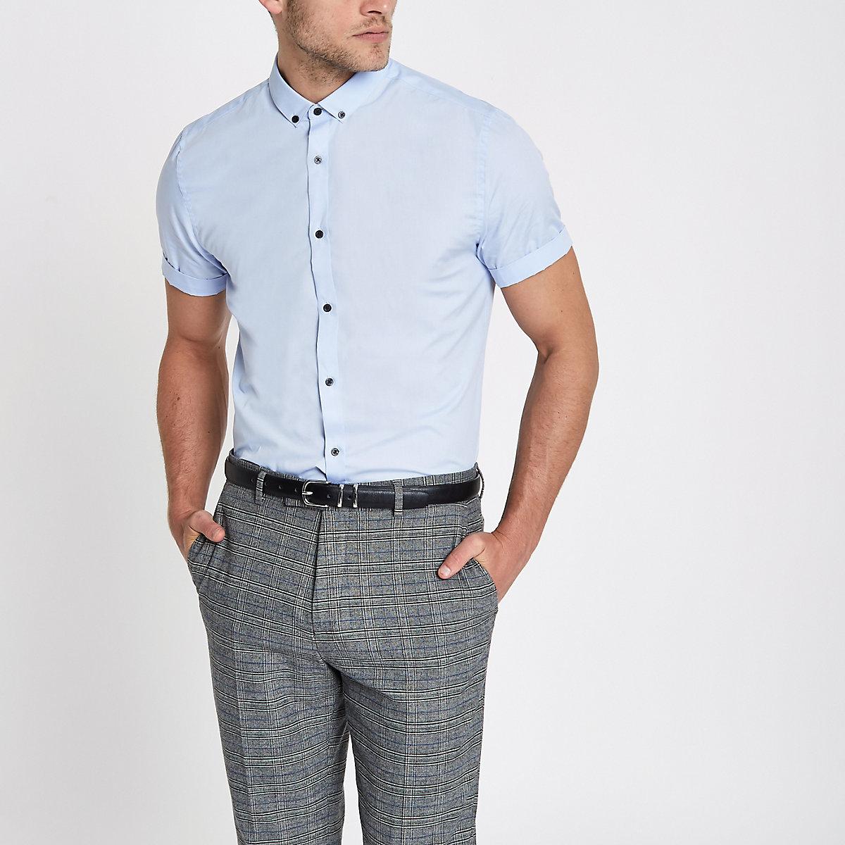 Light blue slim fit short sleeve shirt - Short Sleeve Shirts - Shirts - men 22fd30cd8