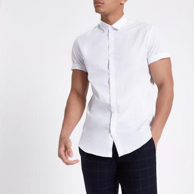 White slim fit short sleeve shirt short sleeve shirts for Best short sleeve button down shirts reddit