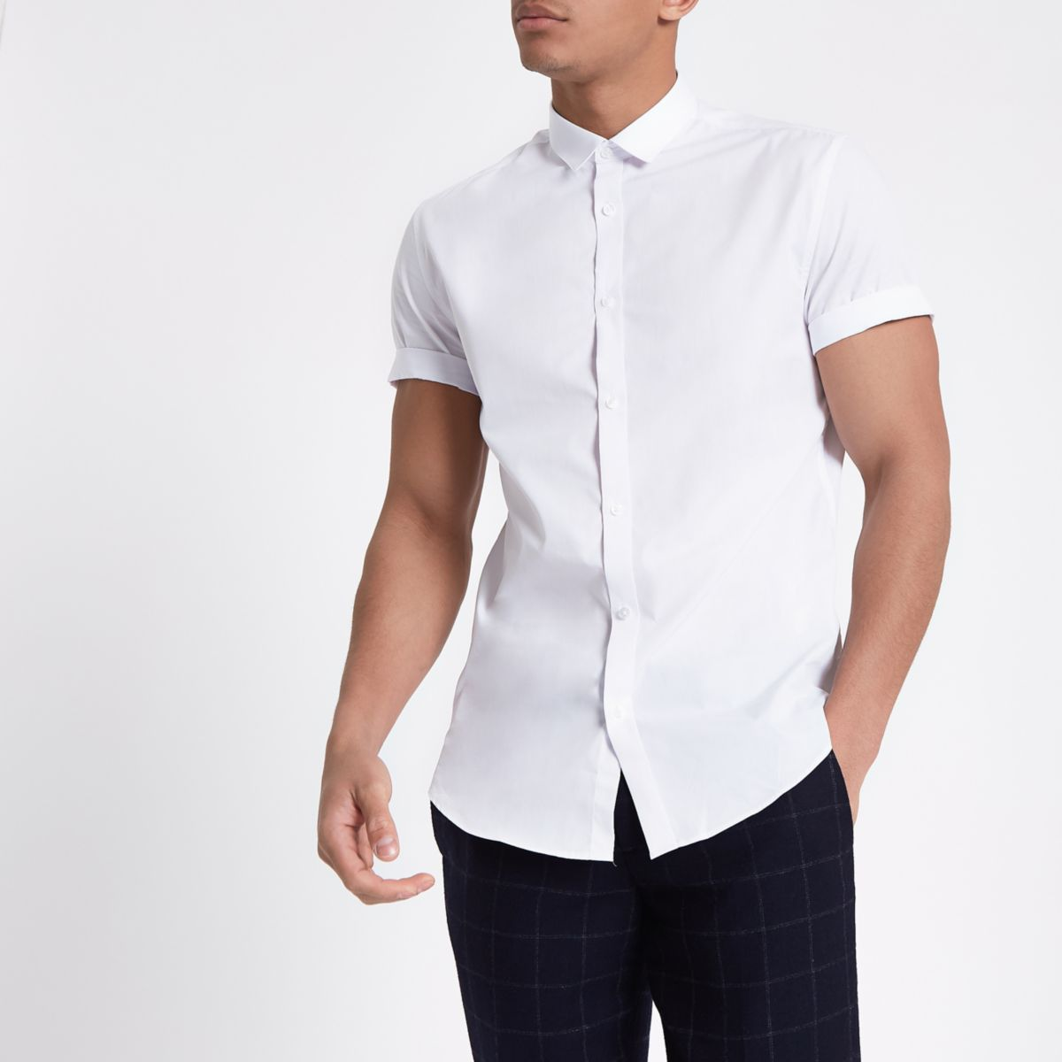 White slim fit short sleeve shirt short sleeve shirts for Men slim fit shirts