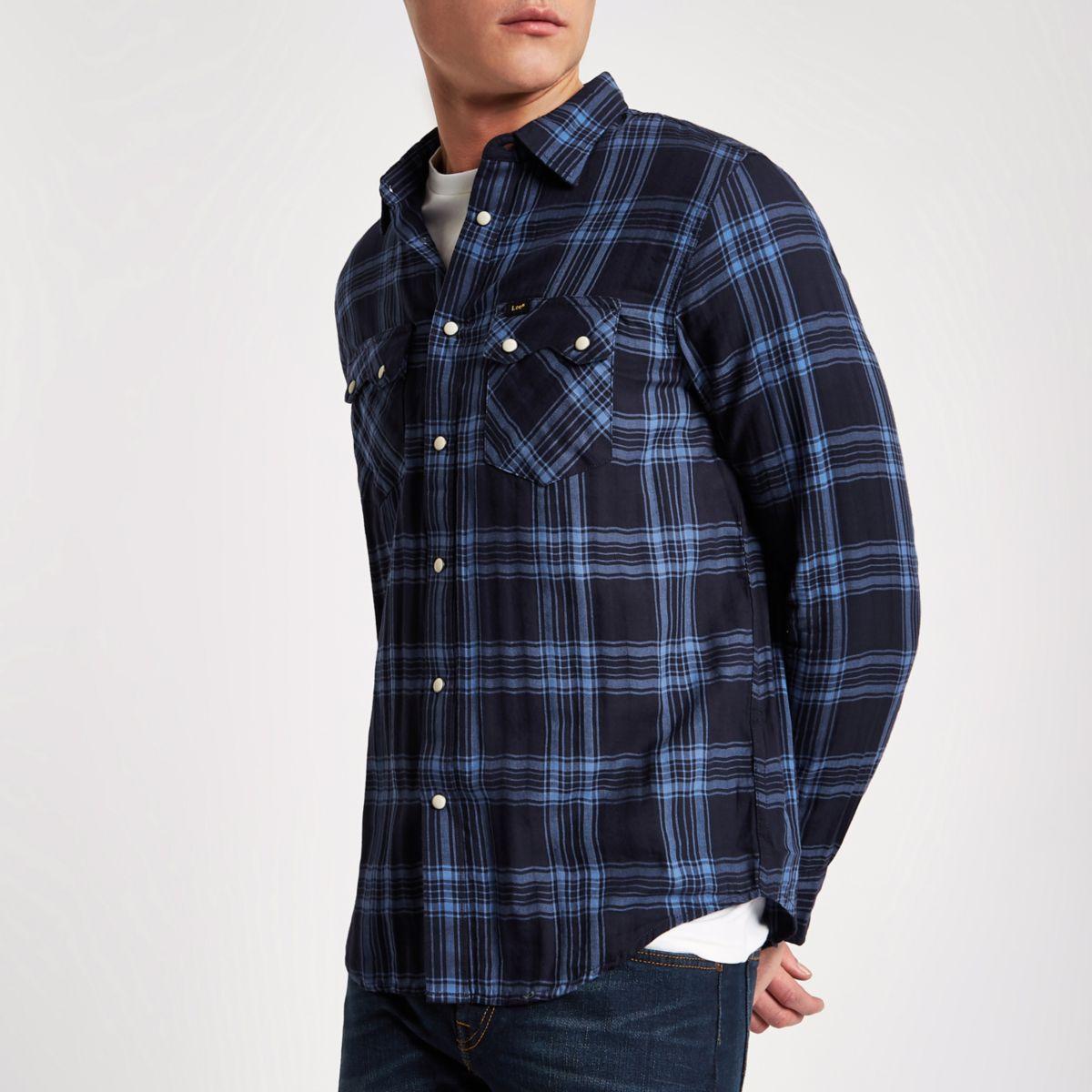 Lee - Blauw geruit oxford overhemd met lange mouwen