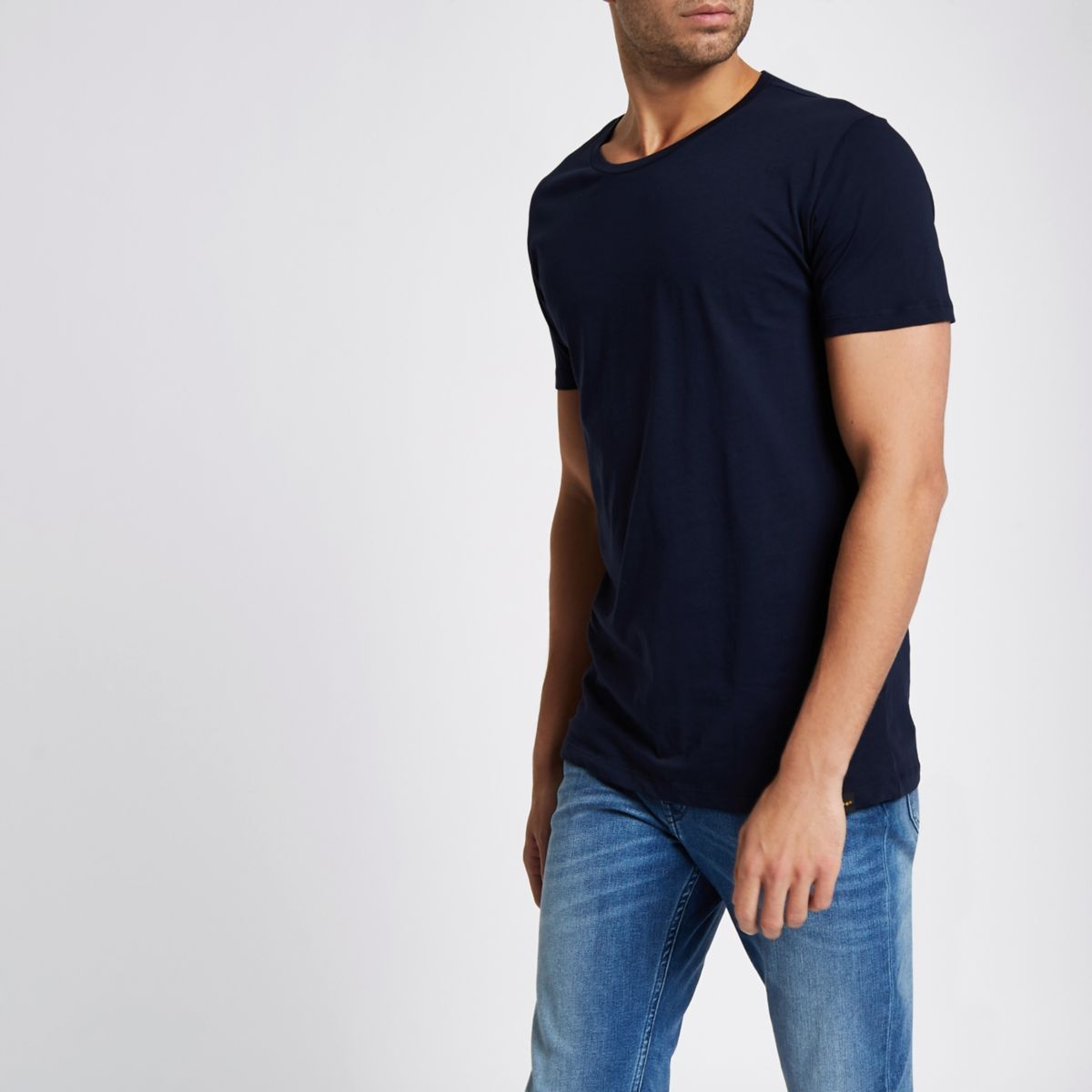 Navy Lee crew neck short sleeve T-shirt