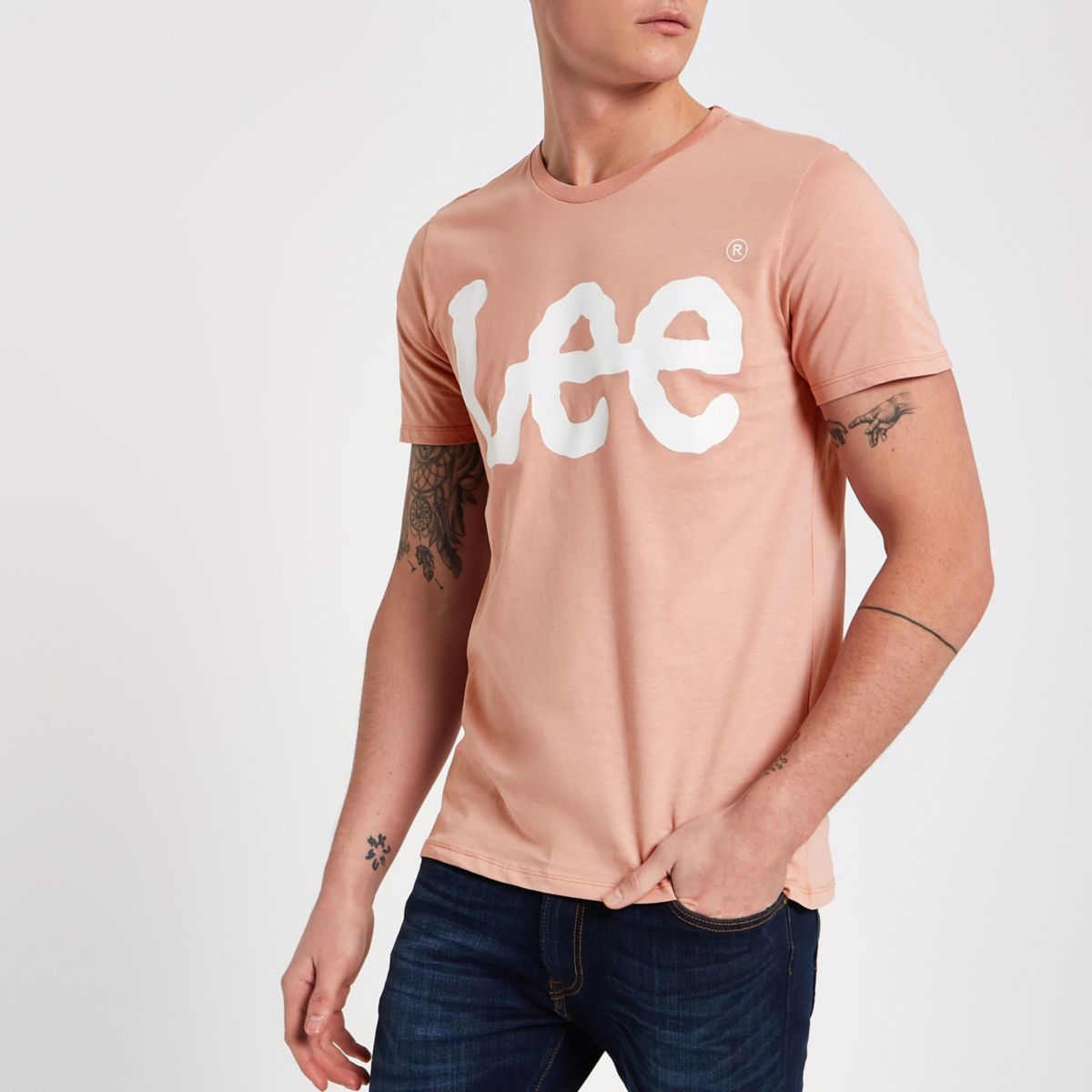 Pink Lee logo print crew neck T-shirt