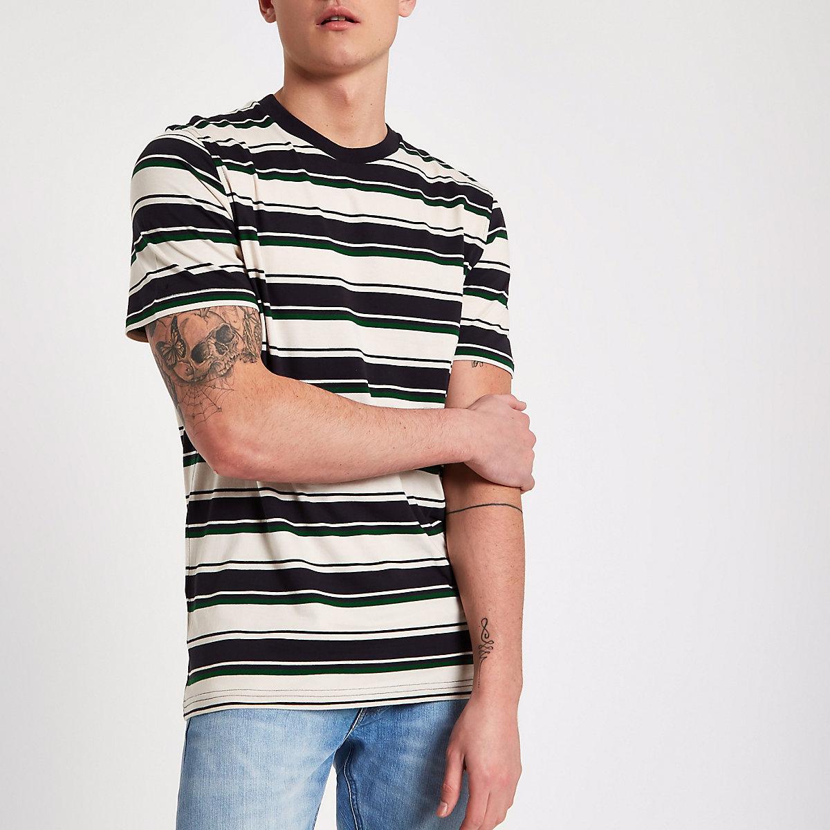Lee black stripe print crew neck T-shirt