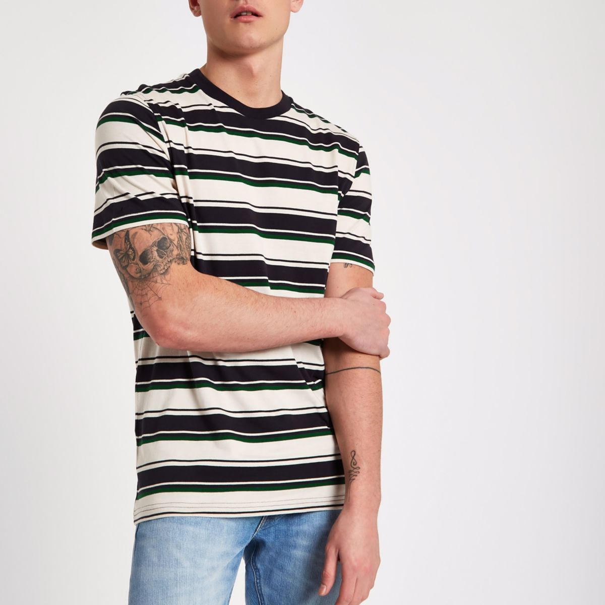 Lee black stripe print crew neck T-shirt