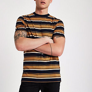 Lee tan stripe print crew neck T-shirt