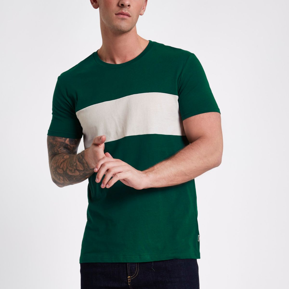 Lee green color block crew neck T-shirt