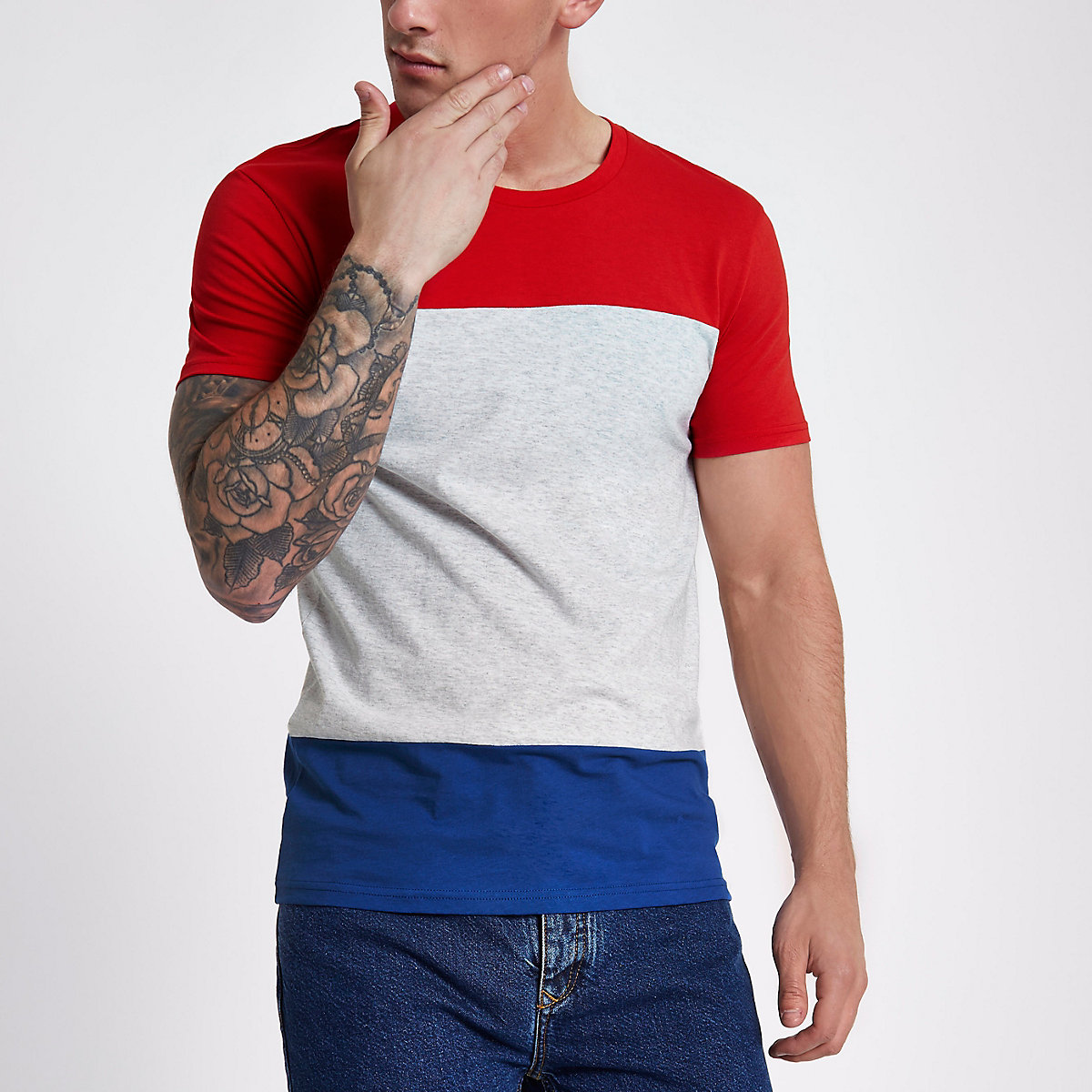 Lee red colour block crew neck T-shirt