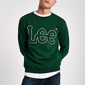 Lee - Donkergroen sweatshirt met logo en ronde hals