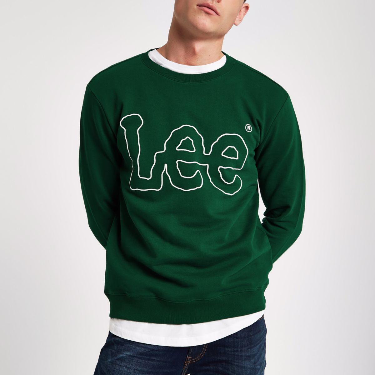 Dark green Lee logo print crew sweatshirt