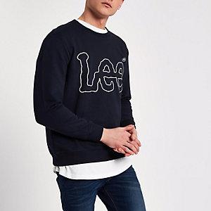 Lee - Marineblauw sweatshirt met logo en ronde hals