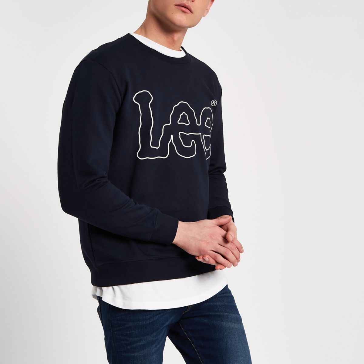 Navy Lee logo print crew neck sweatshirt