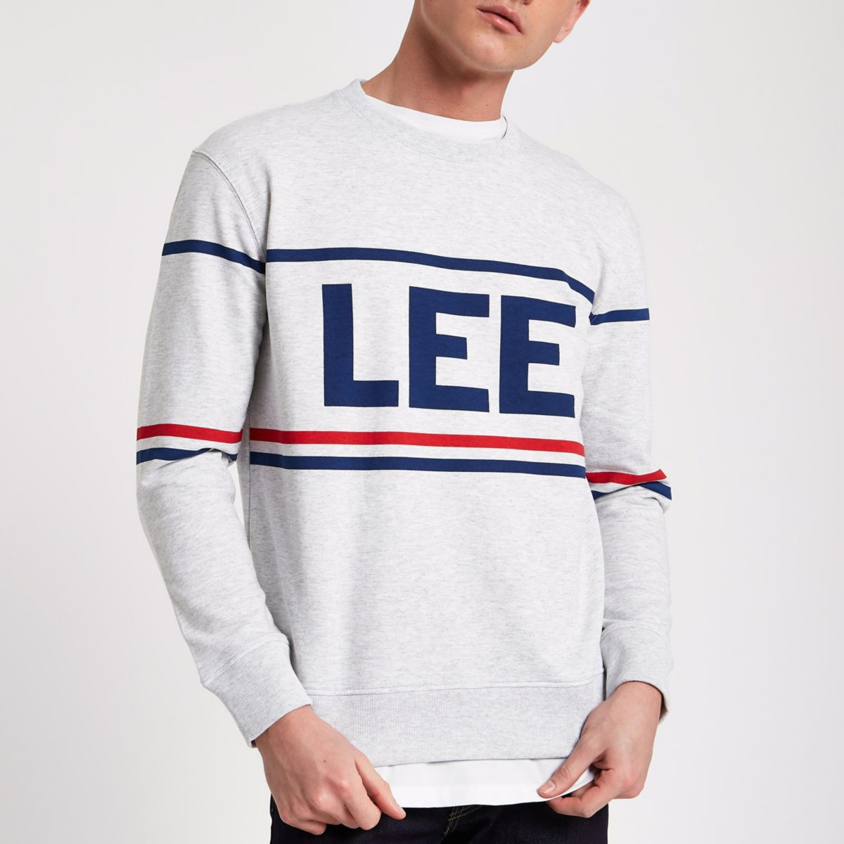 Lee grey marl brand print sweatshirt