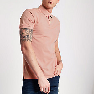 Pink Lee pique short sleeve polo shirt