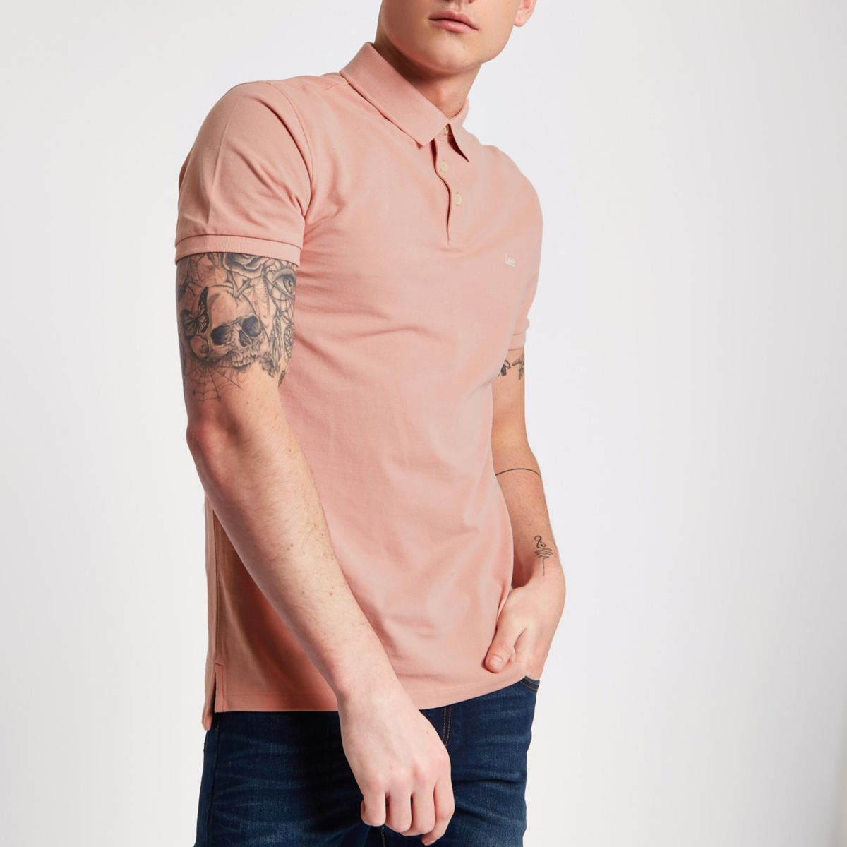 Lee pink pique short sleeve polo shirt