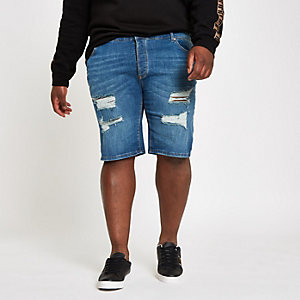 Big and Tall blue skinny ripped denim shorts