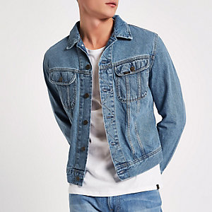 Lee – Veste en jean slim bleu clair