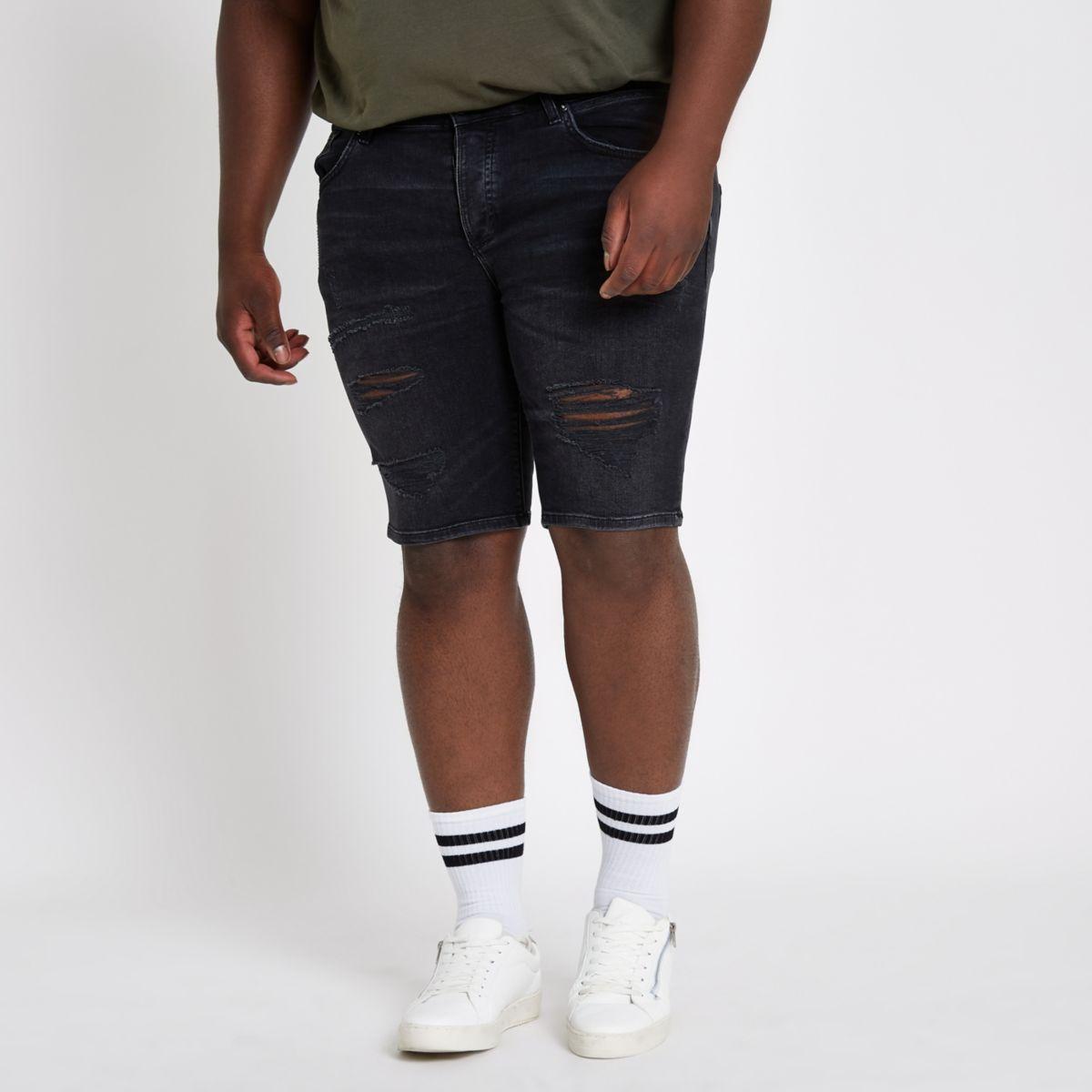 Big and Tall – Short en denim skinny noir délavé