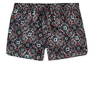 Big and Tall green tile print swim shorts