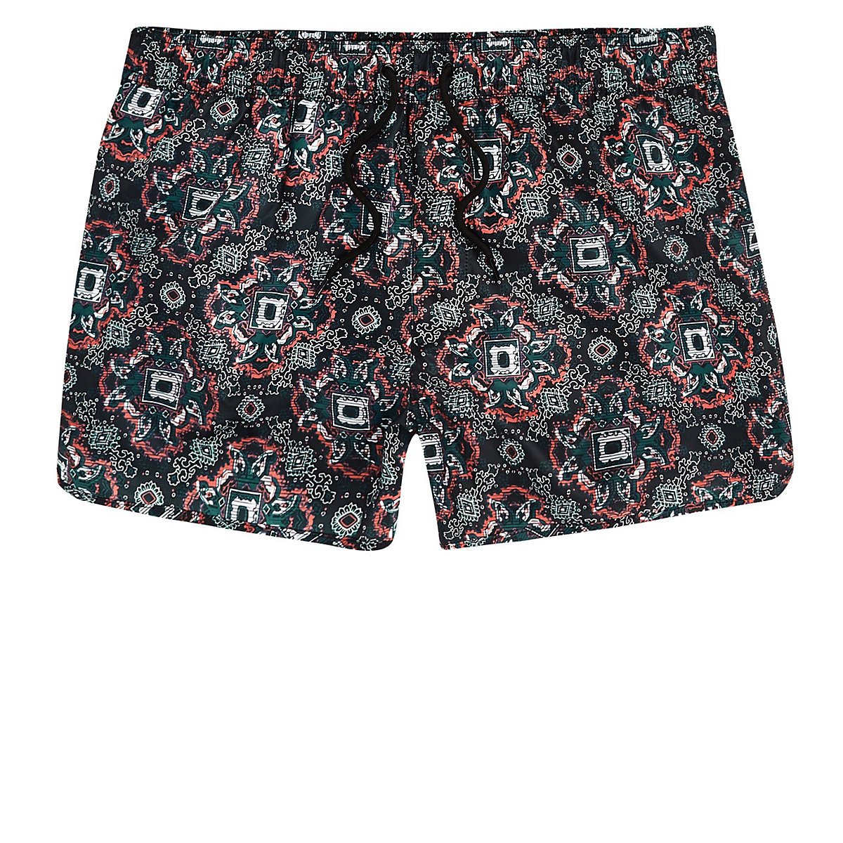 Big and Tall green tile print swim shorts
