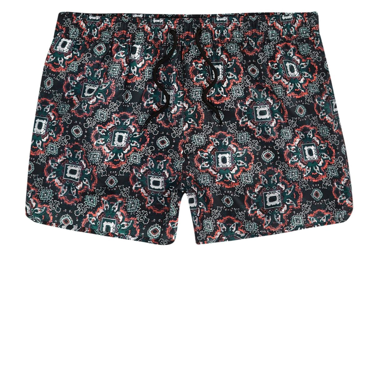 Big and Tall green tile print swim trunks