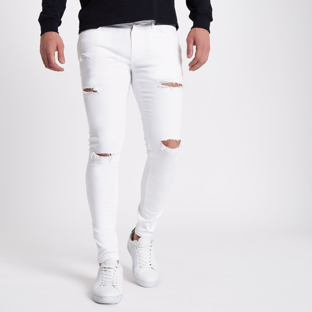 White ripped Ollie super skinny jeans