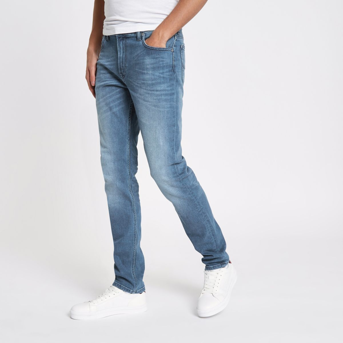 Lee Rider - Blauwe slim-fit jeans