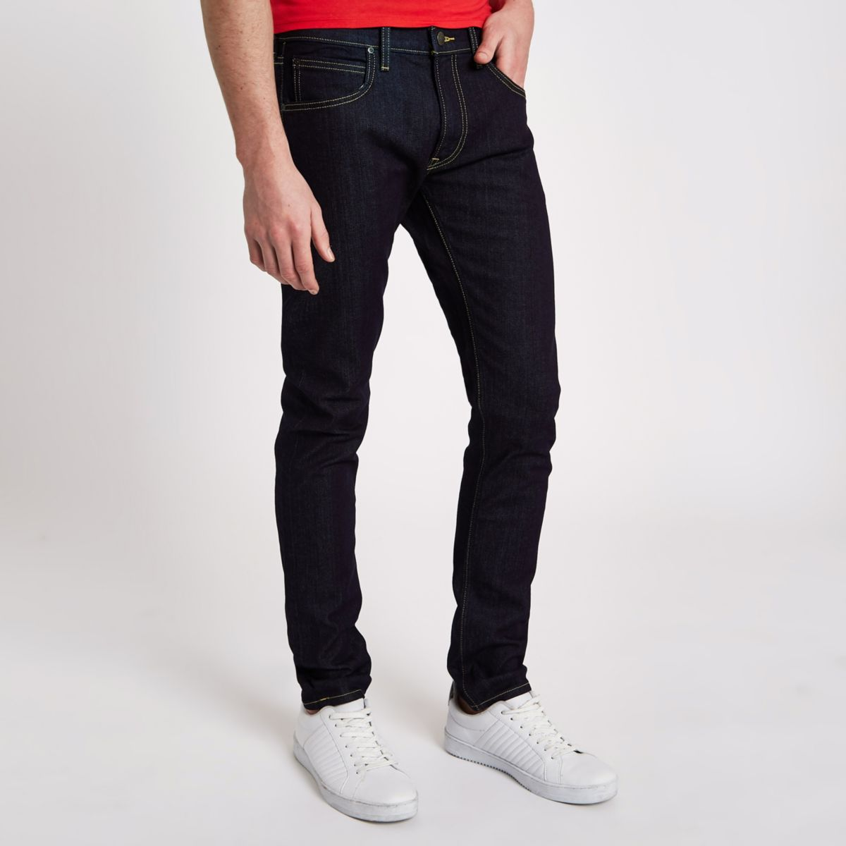 Dark blue Lee tapered jeans