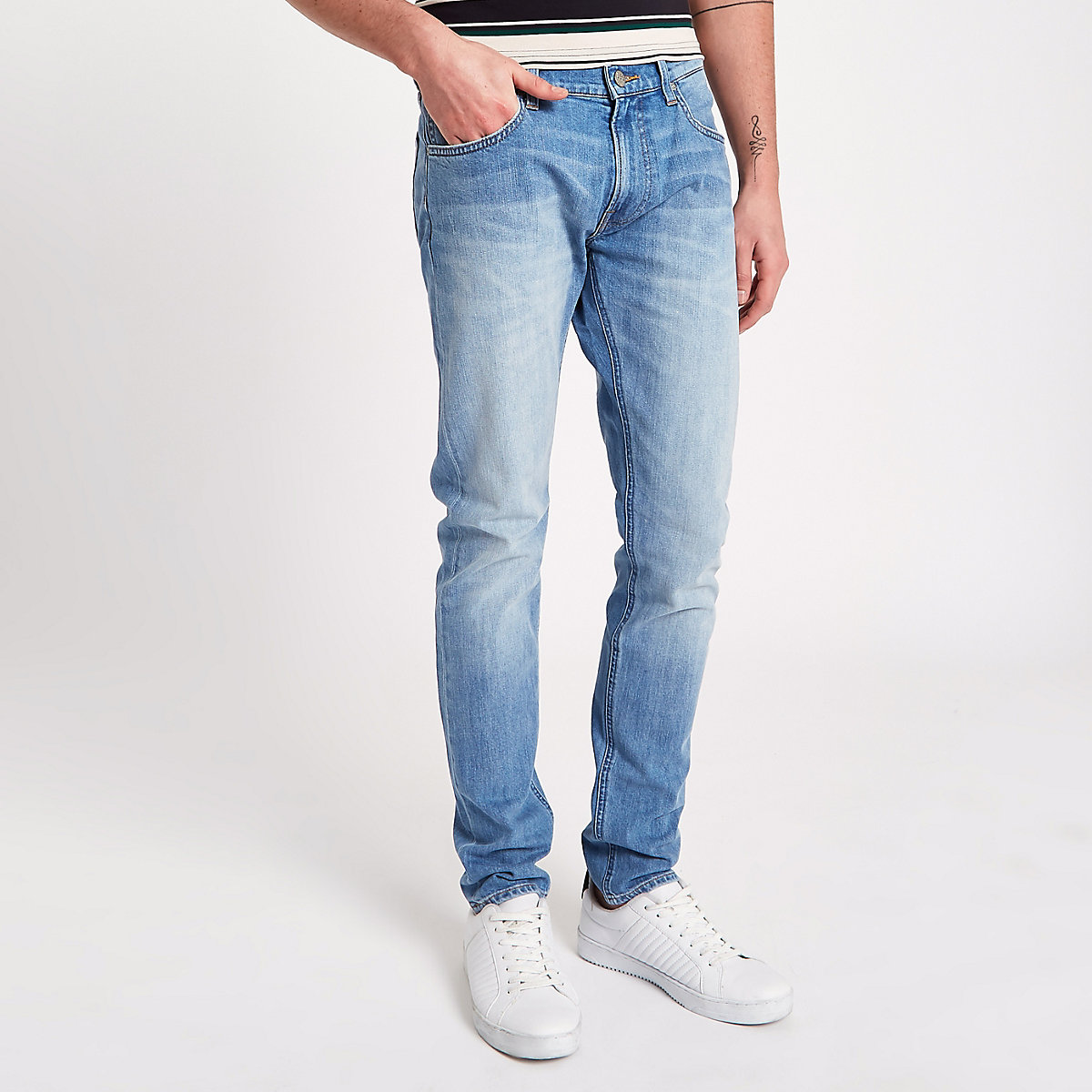 Lee light blue slim tapered Luke jeans