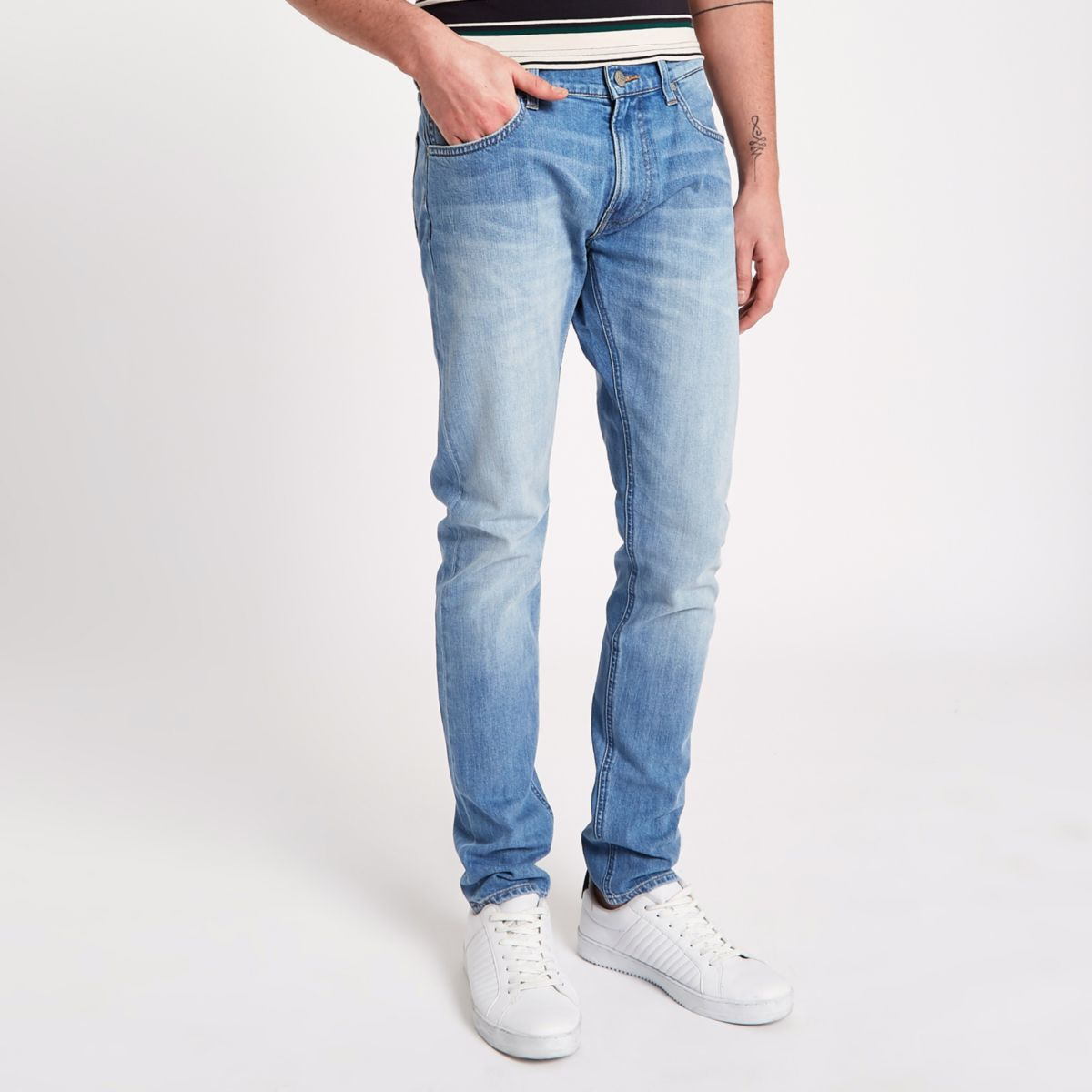 slim tapered Lee blue jeans Luke light UnEPwZ