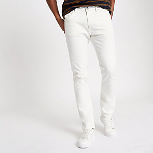 Lee white slim fit tapered jeans