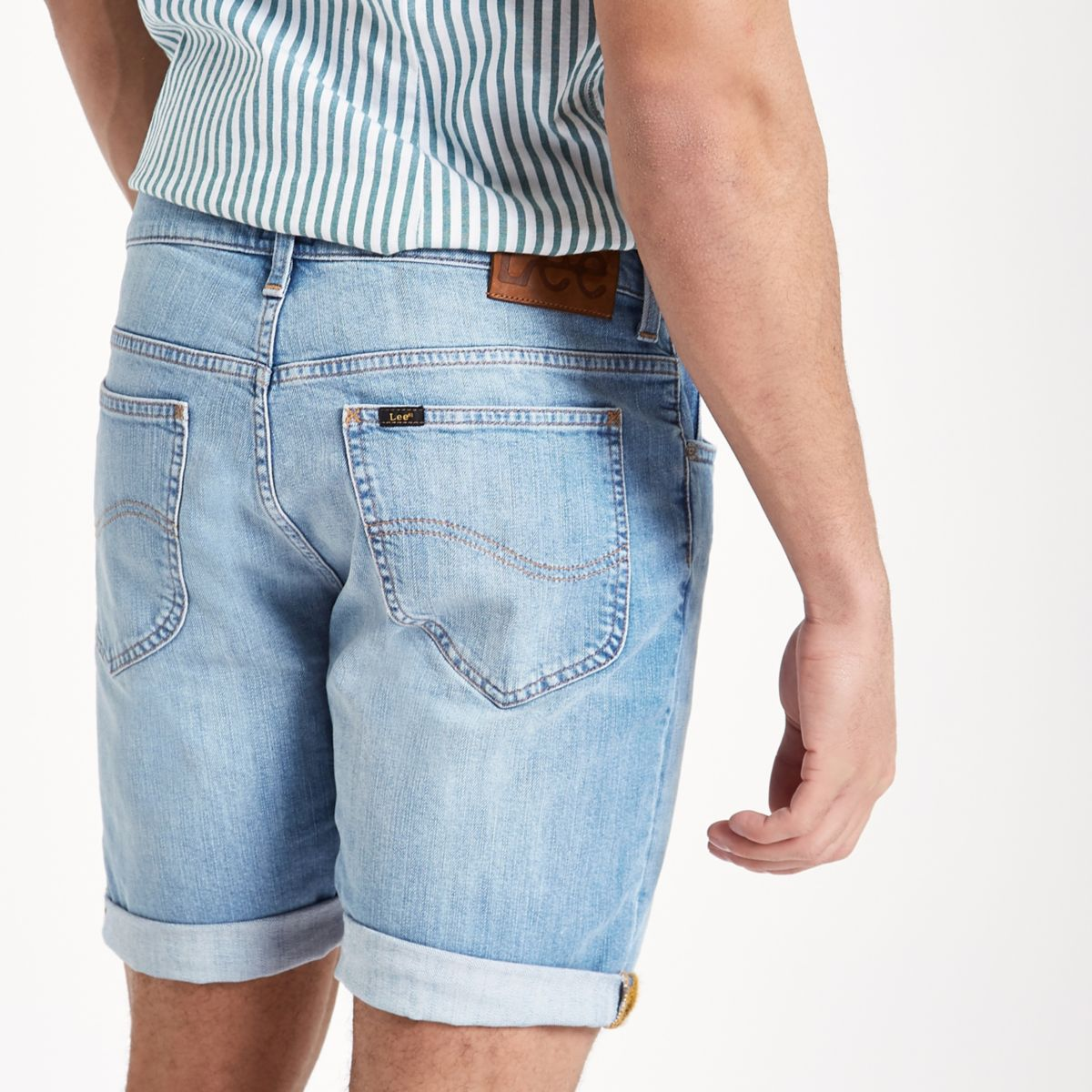 hem Lee denim shorts rolled light blue qTRYTta