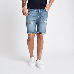 Lee – Blaue Jeansshorts mit grobem Saum