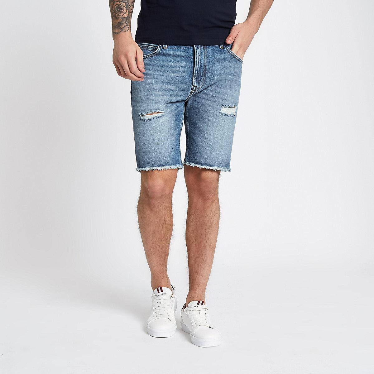 Lee blue raw hem denim shorts