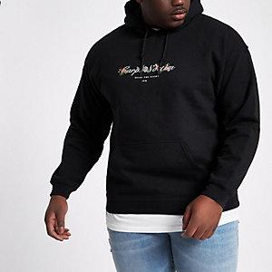 Big and Tall - Zwarte hoodie met 'carpe noctem'-print