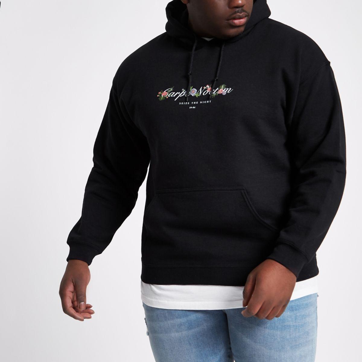 Big and Tall black 'carpe noctem' hoodie