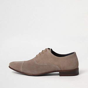 Beige toecap lace-up Oxford shoes
