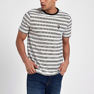 Cream slim fit stripe embroidered T-shirt