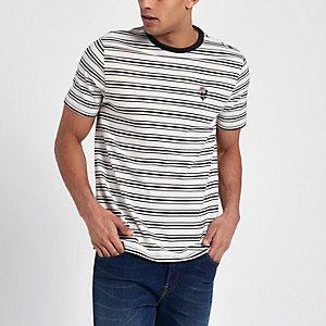 Slim Fit T-Shirt mit Streifen und Stickerei