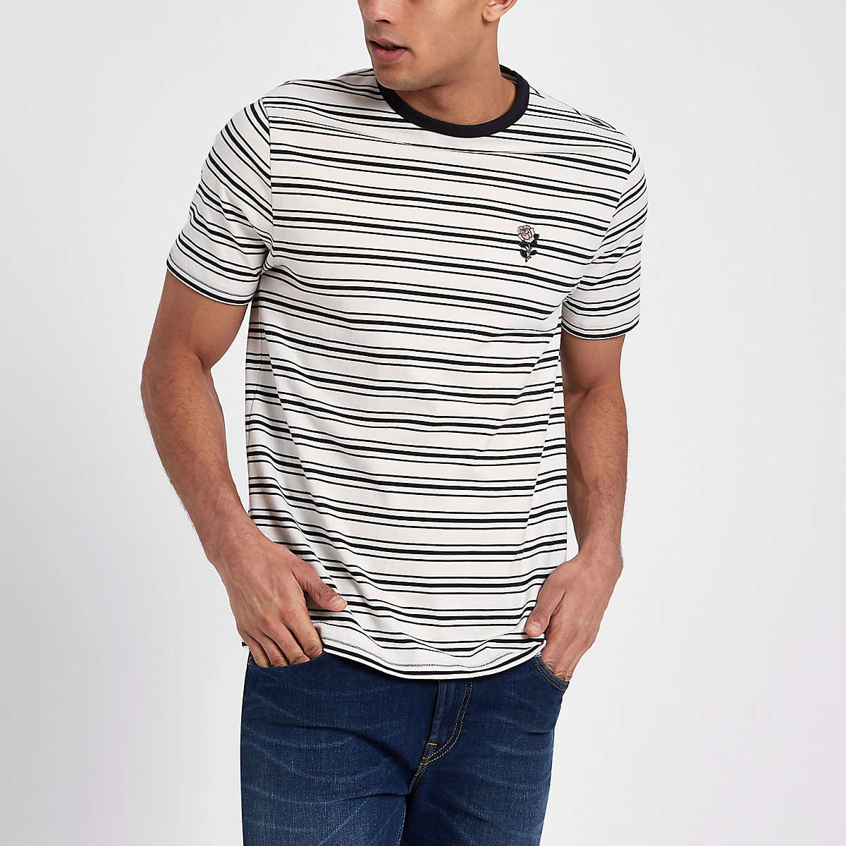 Cream slim fit stripe embroidered T-shirt